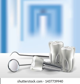 Set of dental tools realistic 3D teeth on the table close-up, on the background of a blurred hospital