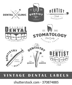 Set of dentist labels. Elements for design on the dentist theme. Collection of dentist symbols: tooth, jaw, dental tools. Modern labels of dentist. Emblems and logos of dentist. Illustration