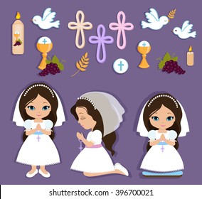 Set of design elements for First Communion for girls.