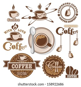 Set of designed coffee elements, icons and labels