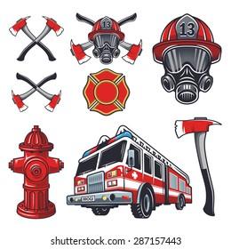 Set of designed firefighter elements. Coloured