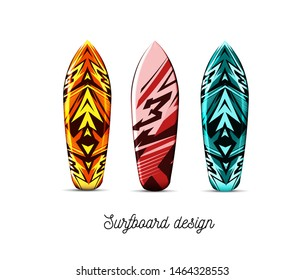 Set of designs for surfer boards on a white background. isolated illustration. Hawaiian style