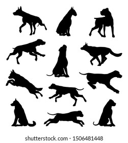 A set of detailed animal silhouettes of a pet dog