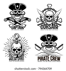 Set of detailed classic pirate tattoos with skulls, sabers, chains, pistols and an anchor.