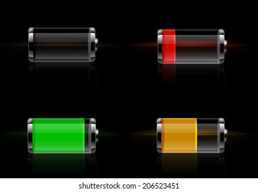 Set of detailed glossy transparent battery level indicator icons. Battery energy concept. Raster version