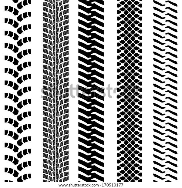 Set of detailed tire prints,  illustration