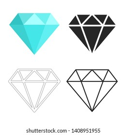 Set of diamonds icon. Flat, linear, outline, simple sign. Blue, black and white diamond. Template design for corporate business logo, mobile or web app.