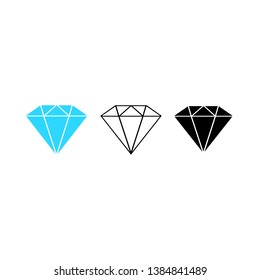 Set of Diamonds icon. Gemstone illustration