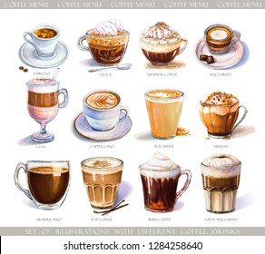 Set with diferent coffee drinks for cafe or coffeehouse menu. Illustration of strong espresso, gentle latte, sweet macchiato and cappuccino, Viennese coffee and glace. Markers, watercolor.