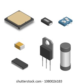 Set of different active and passive electronic components isolated on white background. Resistor, capacitor, diode, microcircuit, fuse and button. 3D isometric style,  illustration.