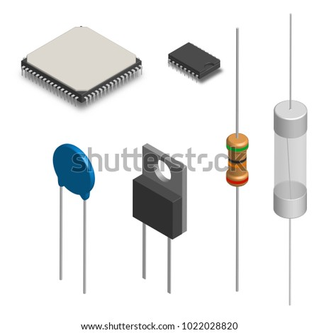 Set Different Active Passive Electronic Components Stock Electronics What Is A Diode Of And Isolated On White Background Resistor Capacitor