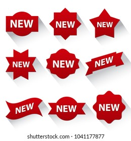 set of different advertising badges and stickers in red color, on white background