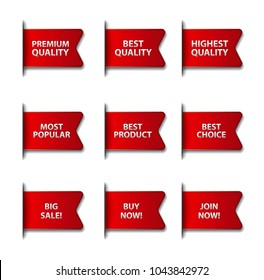 set of different advertising flags and stickers in red color, on white background, sale and discount