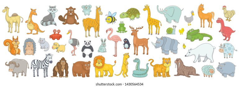 Set of different animals. isolated on white background