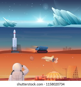 Set of different banners dedicated to alien planets, Mars exploring, space flight, space exploration, colonization misson.
