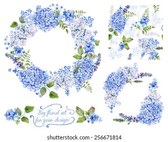 Set of different  blue, cyan  hydrangea, lavender, currant, frame, decorative corners and one seamless pattern  for design. Watercolor flowers, leaves