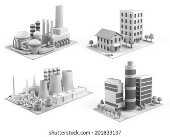Set of different buildings, office center, powerhouse, factory and  dwelling house
