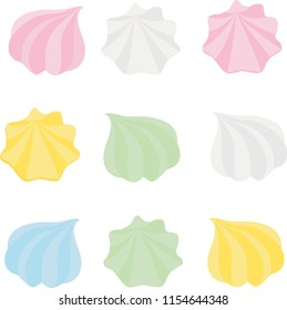 Set of different cartoon varicolored meringues. Zephyr. Dessert. Raster illustration.