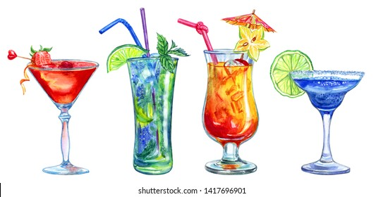 Set of different cocktails, watercolor painting on white background isolated clipart