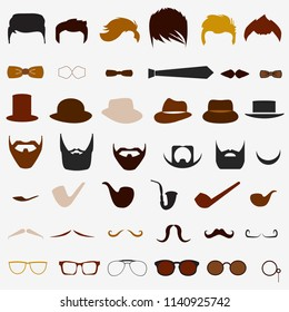 A set of different elements and silhouettes for fashionable men. Mustaches, pipes, glasses, hats, beard color