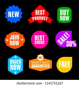 set of different flat advertising and promotion badges and banners in different colors