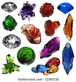 set of different gems and crystals