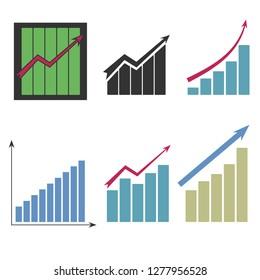 Set of different graphs on white background,  illustration