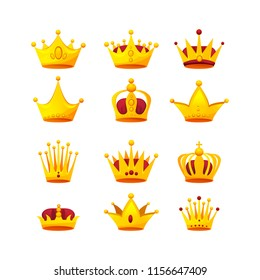 Set of different kinds of beautiful luxury gold crowns. Collection of crown awards for winners, leadership. Royal king, queen. Luxury sign, icon of monarch or vintage coronet. illustration.