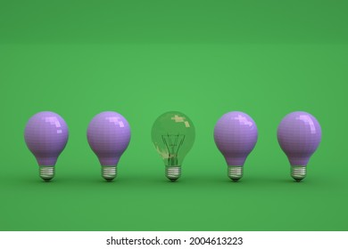 Set of different light bulbs on a green isolated background. One transparent light bulb among the other blue ones. Unlit light bulbs on an isolated background, a set of light bulbs. Close-up.