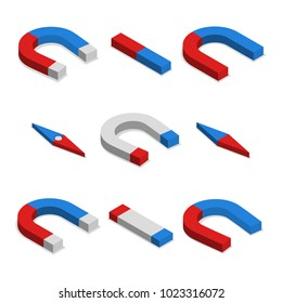 Set of different magnets isolated on white background. Flat 3d isometric style,  illustration.