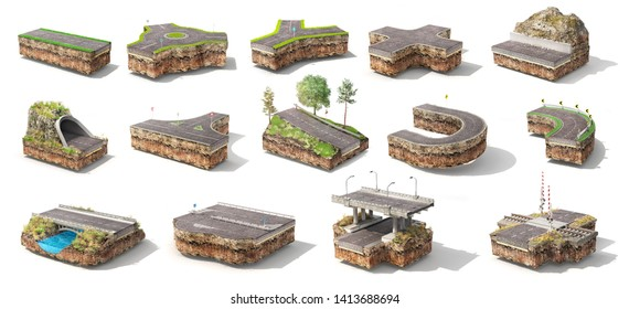 Set of different pieces of road. Can see road structure. 3d illustration