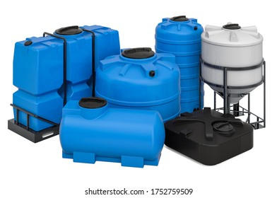 Set of different plastic tanks for water and other liquid, 3D rendering