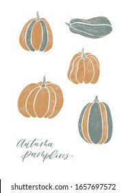 Set of different pumpkins drawn in shading in the style of cartoon. Minimalistic autumn card, poster, wallpaper with calligraphy, lettering. Yellow and green khaki on a white isolated background.