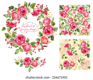 Set of different red, pink flowers, frame, decorative element and two seamless patterns for design. Watercolor roses, leaves