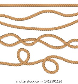 Set of different ropes. String, jute, thread, cord and twisted rope knots. Nautical yellow rope woven symbol. Template design for decoration and covering.