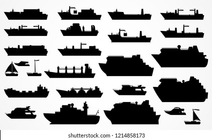 Set of different ships: dry cargo ships, container ships, tanker, bulk carrier, dry cargo ship, icebreaker, trawler, yacht, sailboat, ñruise ship. Black silhouettes.