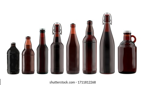 Set of Different Sizes of Brown Glass Beer Bottles. 3D Render Isolated on White.