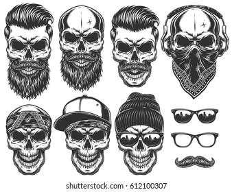 Set of different skull characters with different modern street style city attributes. Monochrome style. Isolated on white background