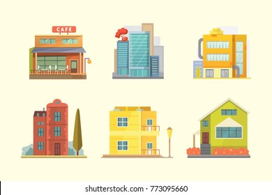 Set of different styles residential houses. City architecture retro and modern buildings. House front cartoon illustrations