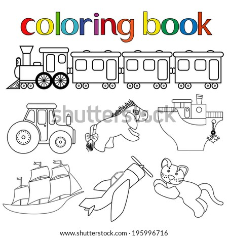 Set Different Toys Coloring Book Train Stock Illustration 195996716 ...