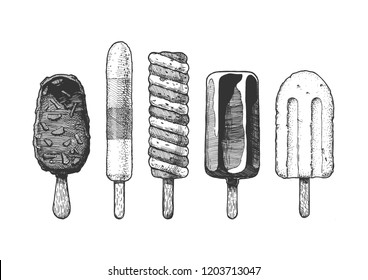 Set of different types of ice cream bar on a stick.  Hand drawn illustration in vintage engraved style. Isolated on white background.