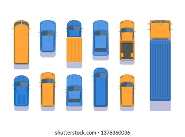 Set of different types of transport. Top aerial view illustration. City car, pick up, SUV, bus, lorry, heavy truck, van, microbus.
