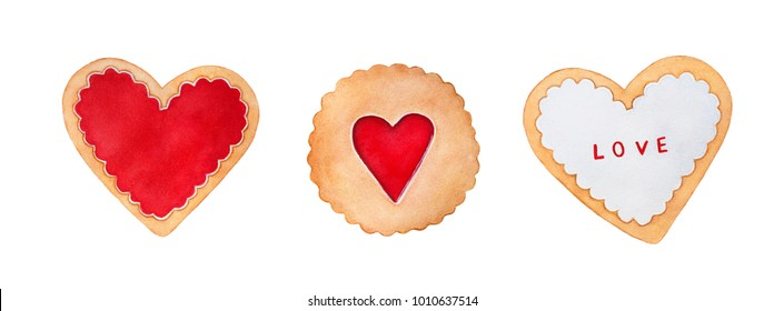 Set of different valentine cookies. Heart shaped, round, decorated with confiture and icing, ready to eat. Romantic symbol. Top view. Hand drawn watercolour drawing on white background, isolate.