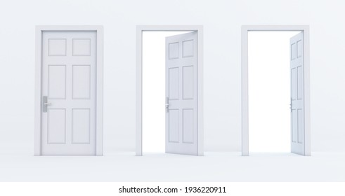 Set of different white door isolated on white background, 3D render