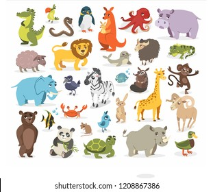 a set of different wild animals in zoo