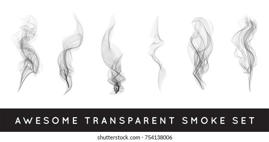 Set of digital realistic smoke Raster illustration