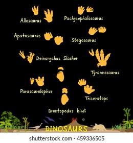 Set of dinosaur fossil footprints. Dinosaur paws