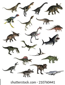 Set of dinosaurs in white background - 3D render