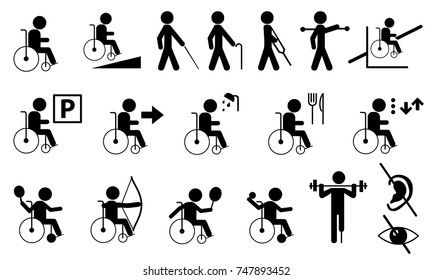 Set of disabled people icon black