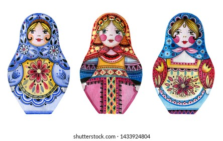 Set of dolls, Russian dolls. Watercolor drawing. Isolated objects on white background.